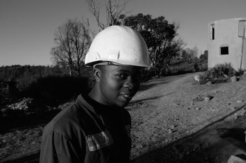 Mr Tendai in hard hat