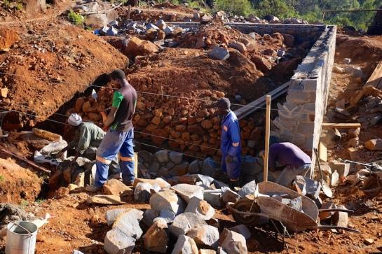 Rondavel extension foundation walls in progress