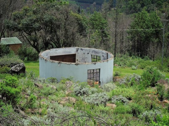 A burnt out roofless structure