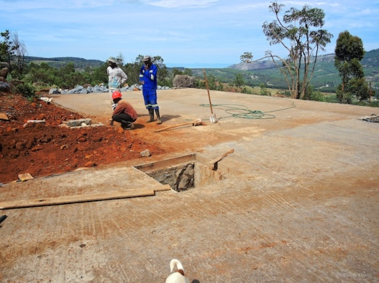 Completed slab on top of foundation walls