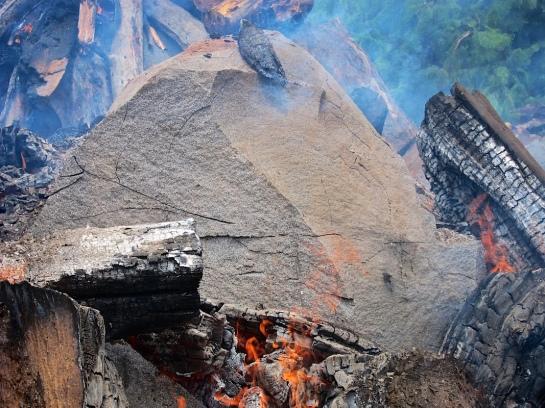 Cracked granite boulders