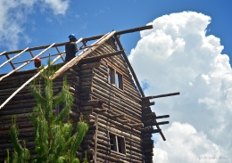 Building a real log cabin – part 3 – topping out and the roof